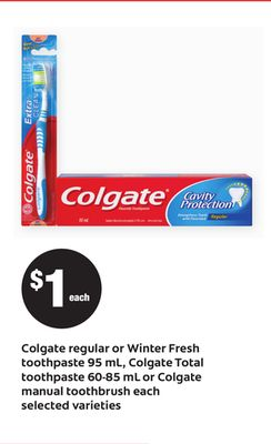Colgate Regular Or Winter Fresh Toothpaste 95 Ml - Colgate Total Toothpaste 60-85 Ml Or Colgate Manual Toothbrush Each