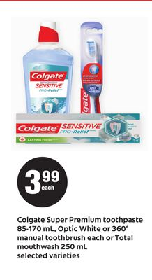 Colgate Super Premium Toothpaste - 85-170 mL - Optic White - or 360° Manual Toothbrush Each Or Total Mouthwash - 250 mL