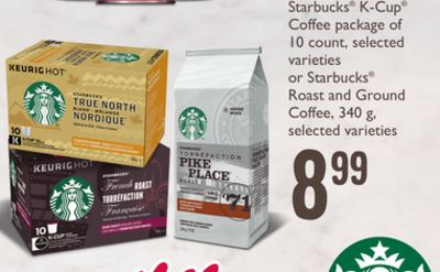 Starbucks K-cup Coffee Package Of 10 Count - Selected Varieties Or Starbucks Roast And Ground Coffee - 340 G