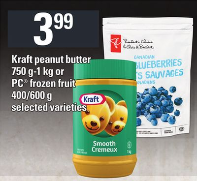 Kraft Peanut Butter - 750 G-1 Kg Or PC Frozen Fruit - 400/600 G