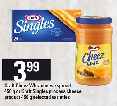 Kraft Cheez Whiz Cheese Spread - 450 G Or Kraft Singles Process Cheese Product - 450 G