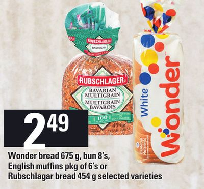 Wonder Bread - 675 G - Bun 8's - English Muffins - Pkg Of 6's Or Rubschlagar Bread - 454 G