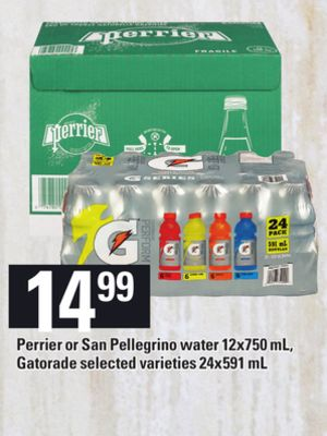 Perrier Or San Pellegrino Water - 12x750 Ml - Gatorade - 24x591 mL