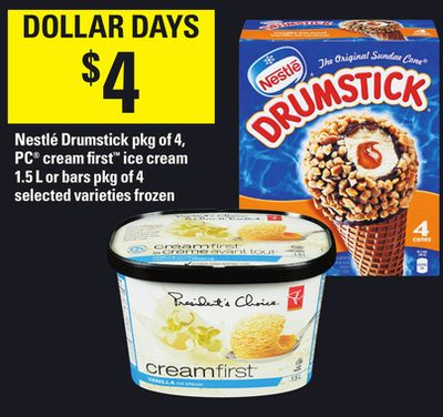 Nestlé Drumstick - Pkg of 4 - PC Cream First Ice Cream - 1.5 L or Bars - Pkg of 4