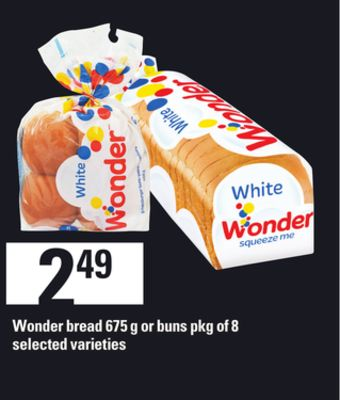 Wonder Bread - 675 G Or Buns - Pkg of 8