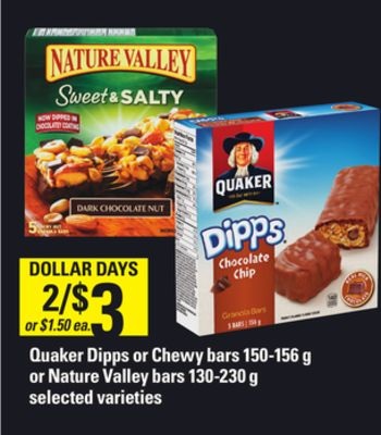 Quaker Dipps Or Chewy Bars - 150-156 g or Nature Valley Bars - 130-230 g