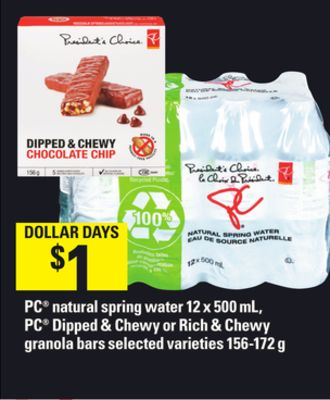 PC Natural Spring Water 12 X 500 Ml - PC Dipped & Chewy Or Rich & Chewy Granola Bars - 156-172 G