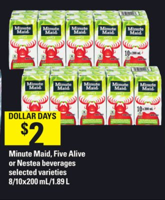 Minute Maid - Five Alive or Nestea Beverages - 8/10x200 Ml/1.89 L