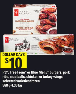PC - Free From Or Blue Menu Burgers - Pork Ribs - Meatballs - Chicken Or Turkey Wings - 568 G-1.36 Kg