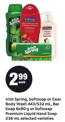 Irish Spring - Softsoap Or Gear Body Wash 443/532 Ml - Bar Soap 6x90 G Or Softsoap Premium Liquid Hand Soap 236 Ml