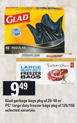 Glad Garbage Bags - Pkg Of 20-40 Or PC Large Duty Freezer Bags - Pkg Of 120/150