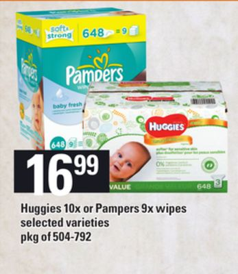 Huggies 10x Or Pampers 9x Wipes - Pkg of 504-792