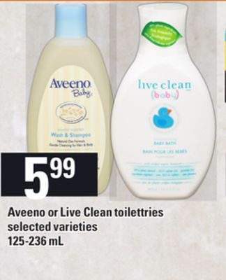 Aveeno Or Live Clean Toiletries