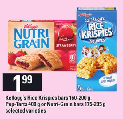 Kellogg's Rice Krispies Bars 160-200 g - Pop-tarts - 400 g or Nutri-grain Bars - 175-295 g