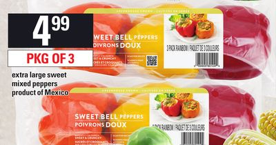 Extra Large Sweet Mixed Peppers - Pkg Of 3