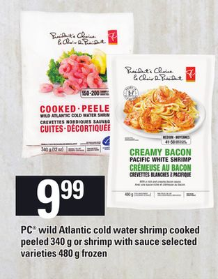 PC Wild Atlantic Cold Water Shrimp Cooked Peeled 340 G Or Shrimp With Sauce - 480 G