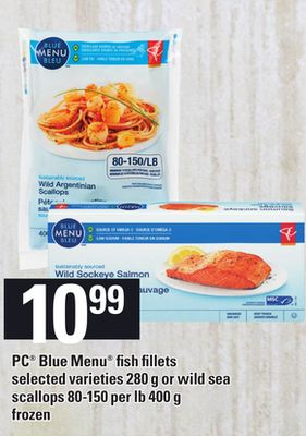 PC Blue Menu Fish Fillets - 280 g Or Wild Sea Scallops - 80-150 Per Lb - 400 g
