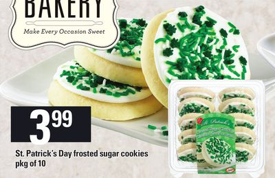 St. Patrick's Day Frosted Sugar Cookies - Pkg of 10