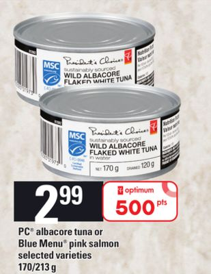 PC Albacore Tuna Or Blue Menu Pink Salmon - 170/213 g