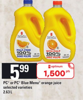 PC Or PC Blue Menu Orange Juice - 2.63 L