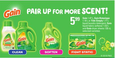 Gain - 1.47 L - Gain Botanique - 1.18 L Or Tide Simply - 1.77 L Liquid Laundry Detergent - Gain Liquid Fabric Softener - 1.53 L And Gain Dryer Sheets - 120 Ct.
