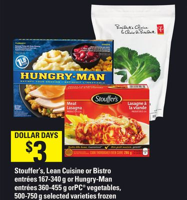 Stouffer's - Lean Cuisine Or Bistro Entrées 167-340 G Or Hungry-man Entrées 360-455 G Or PC Vegetables - 500-750 G