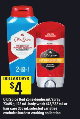 Old Spice Red Zone Deodorant/spray 73/85 G - 123 Ml - Body Wash 473/532 Ml Or Hair Care 355 Ml