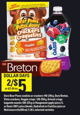 Dare Bear Paws Cookies Or Crackers 140-240 G - Dare Breton - Vinta Crackers - Veggie Crisps 120-250 G - Grissol Crispy Baguette Snacks 100-235 G Or Rougemont Apple Juice 2 L Or Oasis 100% Juice Blends - Hydrafruit Or Fruitzoo Juice Or Nutrisource 8x200 Ml