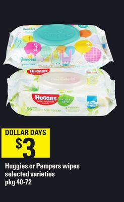 Huggies Or Pampers Wipes - Pkg 40-72