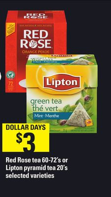 Red Rose Tea - 60-72's or Lipton Pyramid Tea - 20's