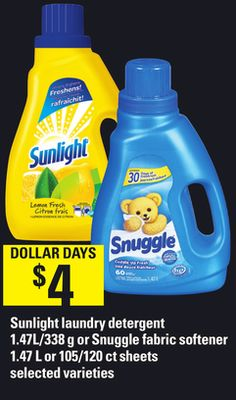 Sunlight Laundry Detergent 1.47l/338 g or Snuggle Fabric Softener 1.47 L or 105/120 Ct Sheets