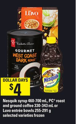 Nesquik Syrup - 460-700 Ml - PC Roast And Ground Coffee - 330-343 Ml Or Luvo Entrée Bowls - 255-291 G