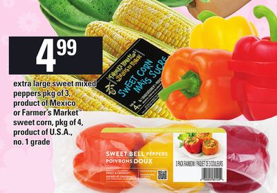 Extra Large Sweet Mixed Peppers Pkg of 3 - Product Of Mexico Or Farmer's Market Sweet Corn - Pkg of 4.
