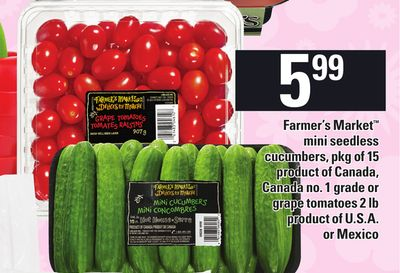 Farmer's Market Mini Seedless Cucumbers - Pkg of 15 or Grape Tomatoes - 2 Lb