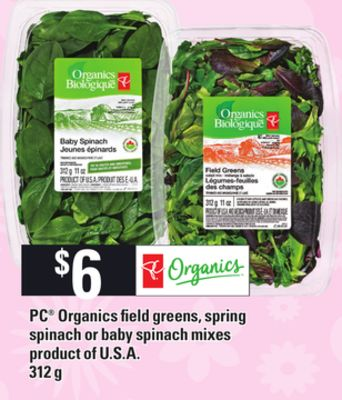 PC Organics Field Greens - Spring Spinach Or Baby Spinach Mixes