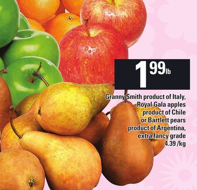 Granny Smith Product Of Italy - Royal Gala Apples or Bartlett Pears