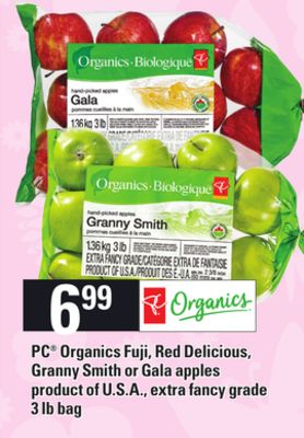 PC Organics Fuji - Red Delicious - Granny Smith Or Gala Apples - 3 Lb Bag