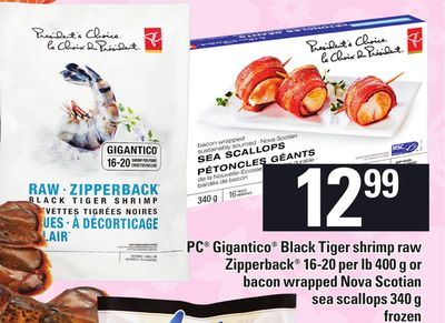 PC Gigantico Black Tiger Shrimp Raw Zipperback Or Bacon Wrapped Nova Scotian Sea Scallops