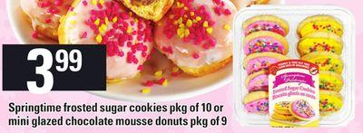 Springtime Frosted Sugar Cookies Or Mini Glazed Chocolate Mousse Donuts
