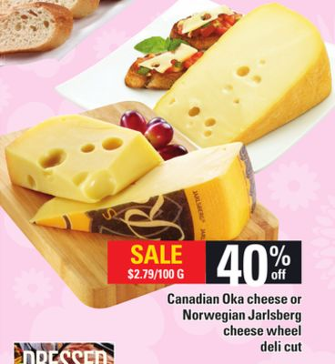 Canadian Oka Cheese Or Norwegian Jarlsberg Cheese Wheel Deli Cut