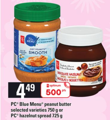 PC Blue Menu Peanut Butter - 750 G Or PC Hazelnut Spread - 725 G