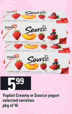 Yoplait Creamy Or Source Yogurt - Pkg of 16