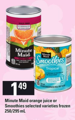 Minute Maid Orange Juice Or Smoothies - 250/295 mL