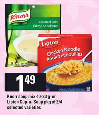 Knorr Soup Mix - 40-83 g or Lipton Cup-a- Soup - Pkg of 2/4