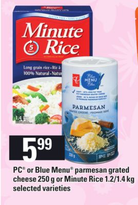 PC Or Blue Menu Parmesan Grated Cheese - 250 G Or Minute Rice - 1.2/1.4 Kg