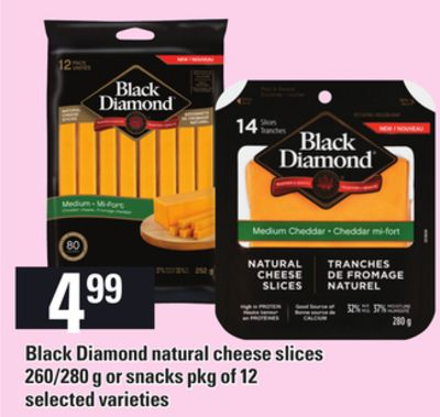 Black Diamond Natural Cheese Slices - 260/280 G Or Snacks Pkg Of 12