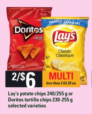 Lay's Potato Chips - 240/255 G Or Doritos Tortilla Chips - 230-255 G