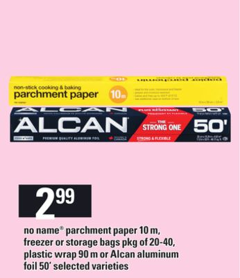No Name Parchment Paper - 10 M - Freezer Or Storage Bags - Pkg Of 20-40 - Plastic Wrap - 90 M Or Alcan Aluminum Foil - 50