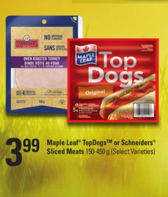 Maple Leaf Topdogs Or Schneiders Sliced Meats - 150-450 g