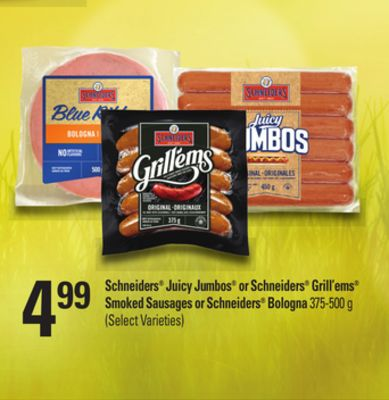 499schneiders Juicy Jumbos or Schneiders Grill'ems Smoked Sausages or Schneiders Bologna - 375-500 g